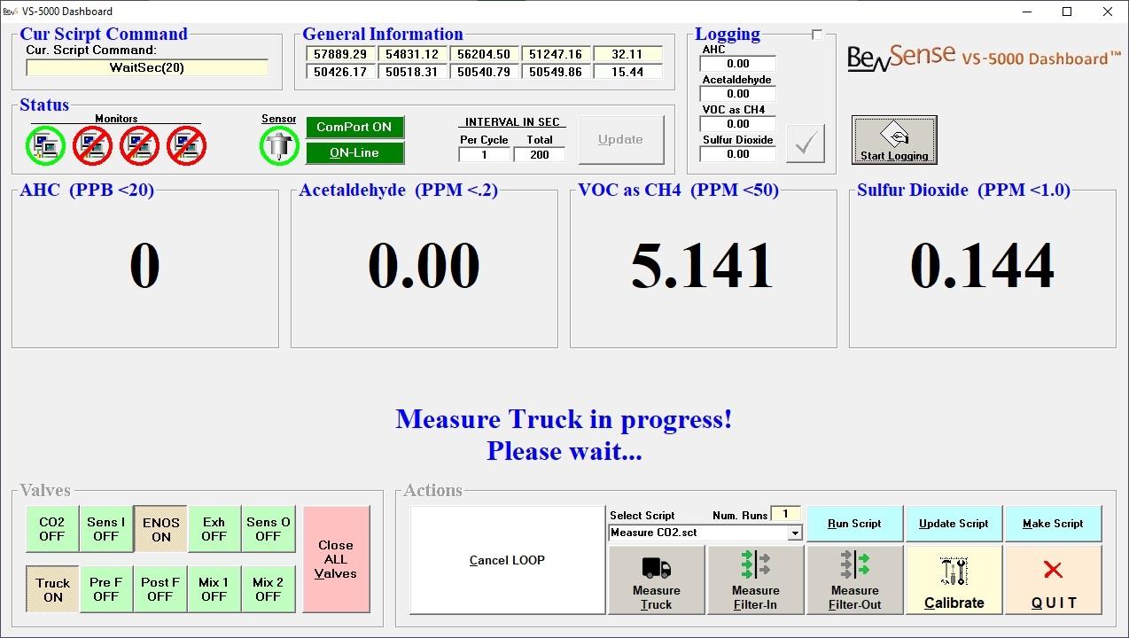 BevSense - VS-5000 Dashboard Software